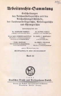 Arbeitsrechts-Sammlung. Bd. 23, Entscheidungen des Reichsarbeitsgerichts und des Reichsehrengerichtshofs, der Landesarbeitsgerichte, Arbeitsgerichte und Ehrengerichte