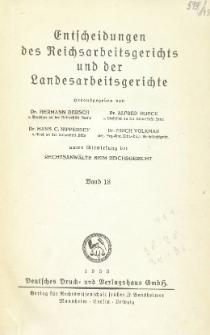 Entscheidungen des Reichsarbeitsgerichts und der Landesarbeitsgerichte. Bd. 18