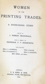 Women in the printing trades : a sociological study