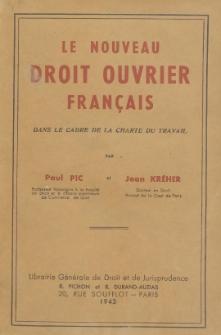 Le nouveau droit ouvrier français dans le cadre de la charte du travail