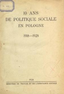 10 ans de politique sociale en Pologne 1918-1928