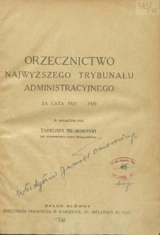 Orzecznictwo Najwyższego Trybunału Administracyjnego : za lata 1922-1929