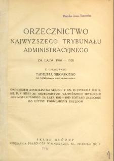 Orzecznictwo Najwyższego Trybunału Administracyjnego : za lata 1928-1930
