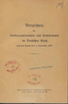 Verzeichnis der Landesarbeitsamter und Arbeitsamter im Deutschen Reich