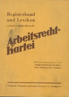 Registerband und Lexikon zu den Loseblattordnern der Arbeitsrecht-Kartei