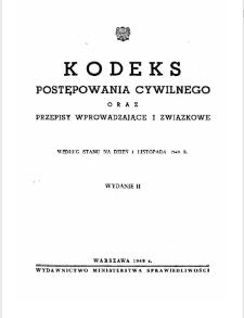Kodeks postępowania cywilnego oraz przepisy wprowadzające i związkowe. - Według stanu na dzień 1 listopada 1949 r.