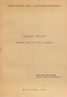 Jakość pracy : (literatura za lata 1972-1977 w wyborze)